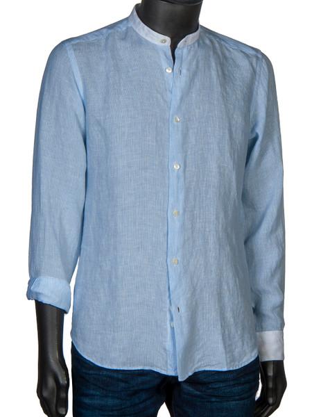 Grandad-Collar Washed Linen Shirt Sky Fine Stripe