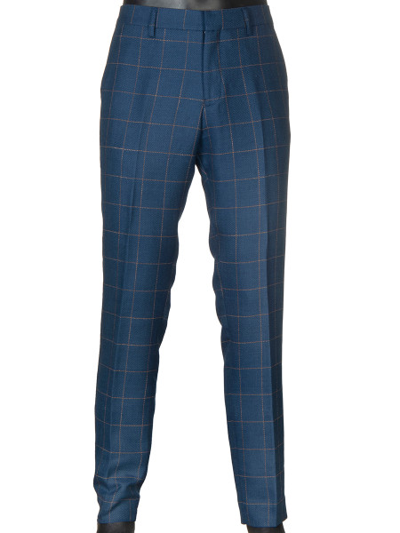 Linen Wool Suiting Pants Dust Blue with Tan Check