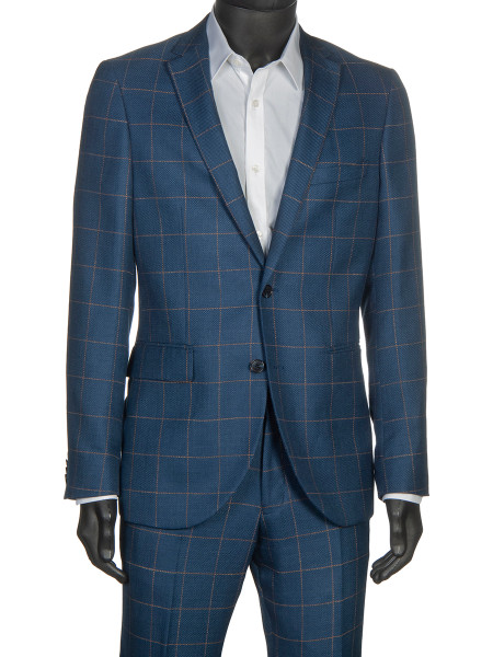 Linen Wool Suiting Blazer Dust Blue with Tan Check