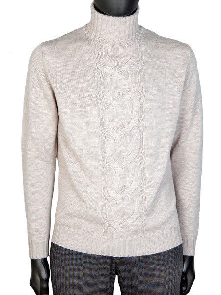 Stone Merino Wool Cable Front Roll Neck