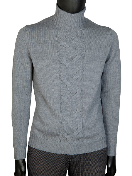 Light Grey Merino Wool Cable Front Roll Neck