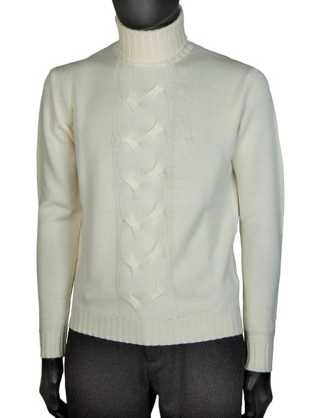 Winter White Merino Wool Cable Front Roll Neck