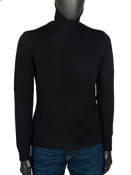 Black Pure Merino Wool Roll Neck
