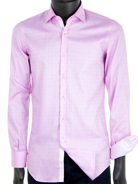 Light Pink Patterned Cotton Shirt