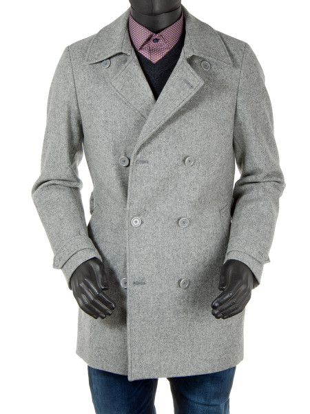 Light Grey Wool Pea Coat