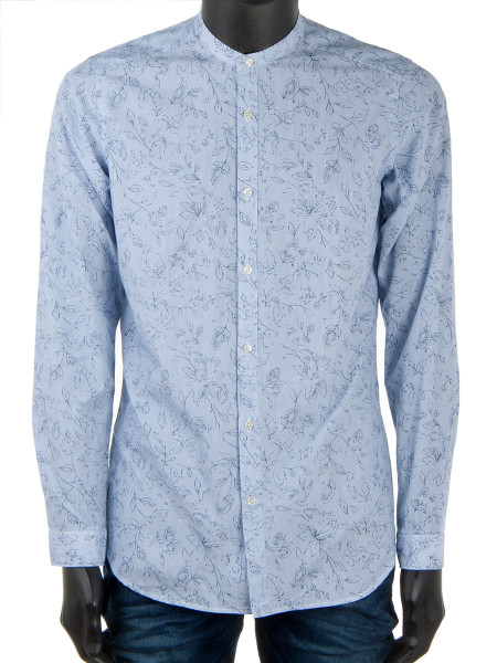 Light Blue Grandad Patterned Shirt