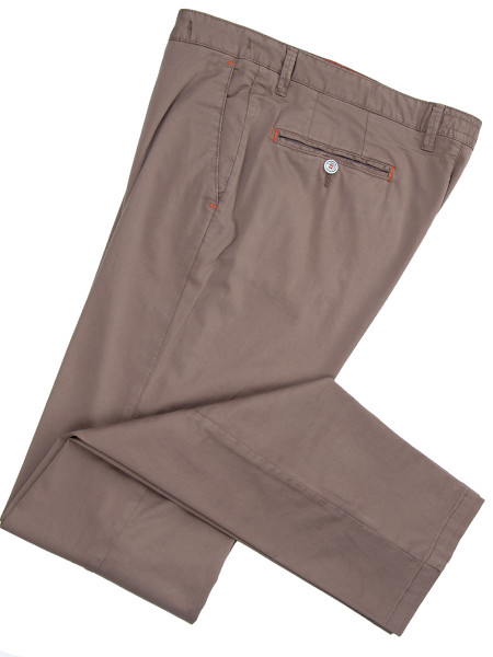 Brown Stretch Cotton Chinos