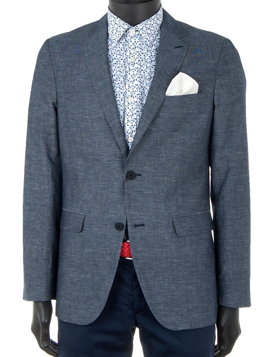 a6136d7bbce3 Blue Check Cotton & Linen Blazer - Oscar Milo
