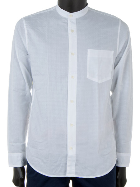 White Textured Band-Collar Shirt