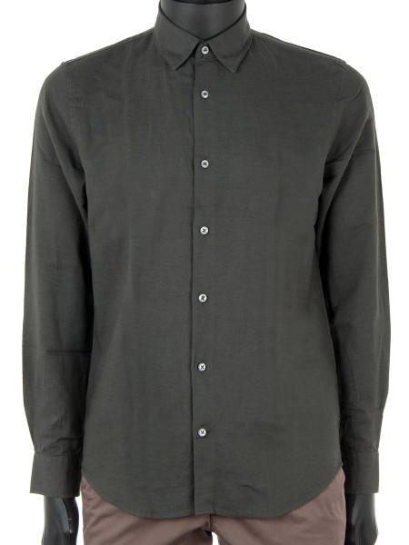 Dark Forest Green Cotton & Linen Shirt