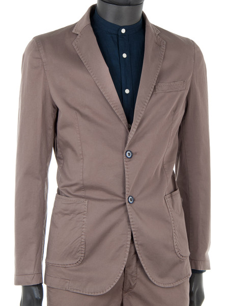 Brown Cotton Stretch Blazer