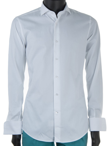 White Poplin Cotton Double Cuff Dress Shirt