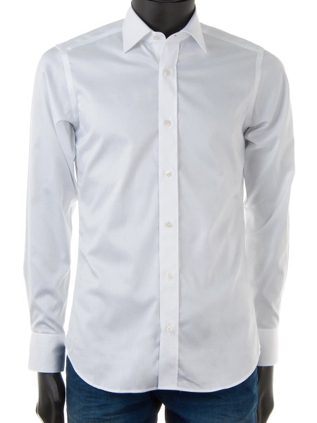 White Cotton Stretch Dress Shirt