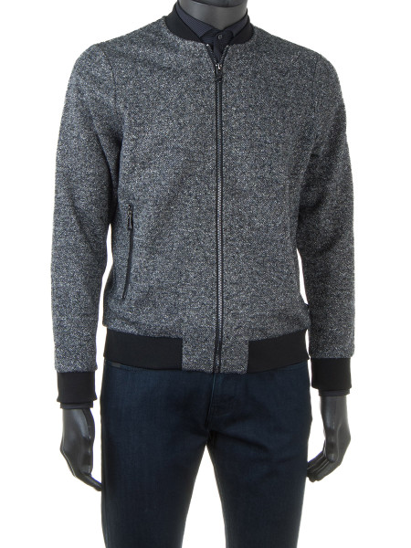 Grey Melange Zip Bomber Jacket