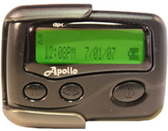 Apollo 924 Alpha Numeric Pager. Free Pager. Pager with one month service. beeper. buy a pager. text message pager. motorola pager