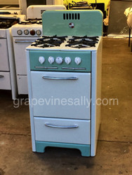"Ready for your apartment, guest house or cabin.  Fully Restored Vintage 1948 Wedgewood 22"" Apartment Style Stove - Mint & Bisque. This stove is absolutely gorgeous. This is a 'frame-up' restoration. All new insulation, all exterior panels are new porcelain enamel, burners and grates have new black porcelain enamel, new chrome, fully re-conditioned original knobs, brass burner valves have been re-built, original Robertshaw model BJ thermostat has been re-built (one year warranty applies). Currently set up for natural gas (NG), could easily be converted for propane use.  Freight shipping is available at additional charge - local pick-up or delivery available. Please call or drop a note with any questions."