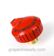 """Original Reconditioned RED Vintage Robertshaw Classic Oven Gas Control Knob. There are no cracks, chips or stains - we have also re-lettered this oven knob. Works with the original vintage right turn Robertshaw Model BJ thermostats.  PLEASE NOTICE: The rear of  knob stem is 1.0""""."""
