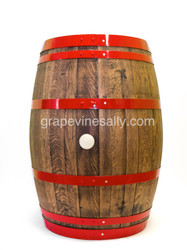 """Original California winery wine barrel - this is the real deal. Sanded, stained, glued and re-banded in red. This is a wonderful piece... think creative. Very solid & very heavy.   MEASUREMENTS: H 37""""x 28"""" at center widest point  These wine barrels are very heavy, you are welcome pick up at our Ventura shop. Also, please note we will ship/crate to your location at ADDITIONAL COST. (Free Shipping IS NOT included for this item)  Available for pick up at our Ventura shop, also crating services are also available. Just give a call."""