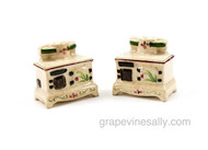 "Set of Vintage Stove Ceramic Salt & Pepper Shakers MEASUREMENTS: Each Shaker W 2-1/2""  H 2-3/8""  D 1.50"""