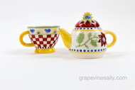 "Vintage Three Piece Colorful Ceramic Tea Pot with Matching Cup  - very nice condition.   MEASUREMENTS: Overall Height 7-3/4  /  Cup Height 3-3/4"" / At center Width including Handles 7-3/4"""