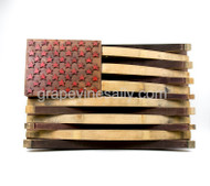 "American Flag Wine Barrel Art - wineries will retire their wine barrels afters after so many years, this Flag Art is made from original retired wine barrels from the Central Coast of California. This is a wonderful piece... think creative. MEASUREMENTS: H 23.5""x L 36.5"" Depth is approx. 5.0""  Available for pick up at our Ventura shop. Just give a call."