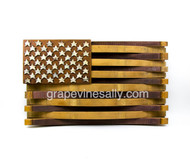 "American Flag Wine Barrel Art - wineries will retire their wine barrels afters after so many years, this Flag Art is made from original retired wine barrels from the Central Coast of California. This is a wonderful piece... think creative. MEASUREMENTS: H 20.0""x L 35.0"" Depth is approx. 5.0""  Available for pick up at our Ventura shop. Just give a call."