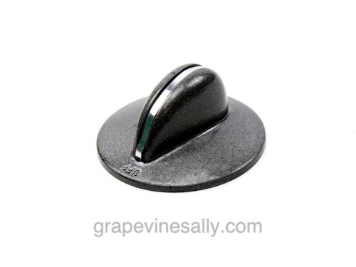 """Vintage Gas Stove Grey Burner Control Knob. Bright and shiny, there are no cracks, chips or stains - the rear """"D"""" is in excellent condition. This a reproduction knob. Color: Grey with Trim Fits the standard """"D"""" valve stem - Diameter of rear: 1-7/8"""""""
