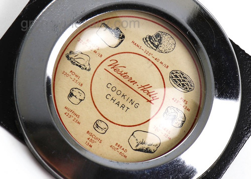 """Original Vintage Western Holly Stove Clock Culinary Cooking Chart with Chrome Bezel Ring. The culinary chart is very nice, no chips or cracks in the glass crown, the chrome ring is very bright and shiny. Mounting plate included.  MEASUREMENTS: Chromed Bezel Diameter 3-1/2"""""""