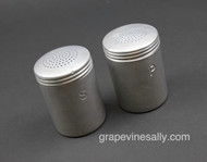 "Original Vintage Aluminum S&P Shakers - Great for a vintage themed space or outdoor cooking area. Screw on caps.  Each Shaker Measures: (at base) Diameter 2-5/8"" / Height 3-3/4"""