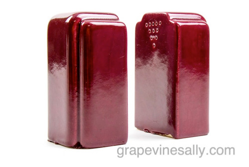 """Vintage Set of Burgundy Ceramic S&P Shakers. Please notice there are a couple of very small chips. Please view all photos.  MEASUREMENTS: H - 4.0""""    W - 2-3/8""""    D - 1-3/4"""""""