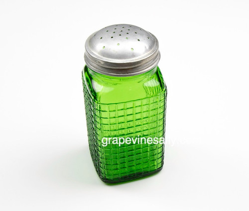 """Tall Vintage Green Glass Shaker - Has flat area for a label, use for sugar, flour, salt, pepper, or ???? MEASUREMENTS: Each Shaker - Height 4-7/8"""" / Width 2-1/8"""" / Depth 2-1/8"""""""