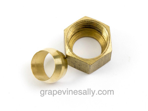 """Gas Supply Line NEW Brass 7/16"""" Nut & Ferrule. On most vintage stoves your main aluminum gas line is 7/16"""". This size will generally supply the thermostats, safety valves, broiler and main ovens.   (7/16"""", 3/16"""", 1/4"""" aluminum gas tubing is also available is our store)"""