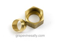 """Gas Supply Line NEW Brass 3/16"""" Nut & Ferrule. On most vintage stoves your main aluminum gas line is 3/16"""". This size will generally supply upper stove top pilots and lower broiler & main oven pilots.    (7/16"""", 3/16"""" and 1/4"""" aluminum gas tubing is also available is our store)"""