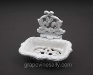 """Porcelain Enameled Antique Soap Dish.    MEASUREMENTS: W 4.0"""" x D 5-1/4""""  -  Overall Height: 4-1/2"""""""