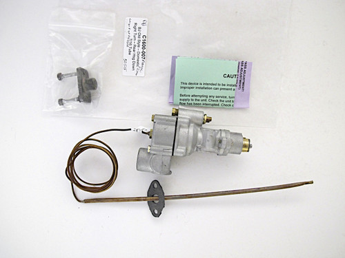 """LAST ONE! Vintage Robertshaw Thermostat Model BJ - Factory Re-Built. This thermostat has been calibrated and tested. It is guaranteed to work like a new thermostat. Gas Connection - Rear Housing CENTER DOWN Connect  /  7/16"""" Tube  /  Right Turn  /  Capillary Length - Approximately 48"""" / Pictured flange is NOT INCLUDED with the thermostat.  SEND US YOUR OLD CORE AND WE'LL CREDIT YOUR PURCHASE ACCOUNT $25.00"""