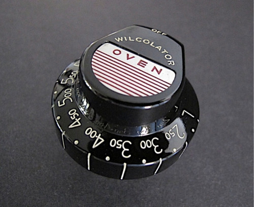 "Vintage Black Wilcolator Thermostat Gas Oven Control Knob. Re-conditioned and re-lettered - this knob is bright and shiny and in very nice used condition. MEASUREMENTS: Stem Length - 1.5"" (from the rear underside of knob)"