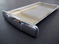 "NEW CHROME Center Griddle Grease Drip Tray. This is the thin indented pull style. Fits the vintage 1940's-1950's Wedgewood Gas Stoves. The metal integrity is excellent. MEASUREMENTS (does not incl. the handle pull): 8-3/4"" x 4-7/8"""