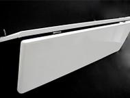 """Original 35"""" O'Keefe & Merritt White Porcelain Enameled Stove Top Folding Vanishing Cover & Shelf."""