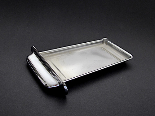 Vintage 1940's-1950's O'Keefe & Merritt gas stove new chromed center griddle grease drip tray.  MEASUREMENTS: 9-7/8 x 4-5/8