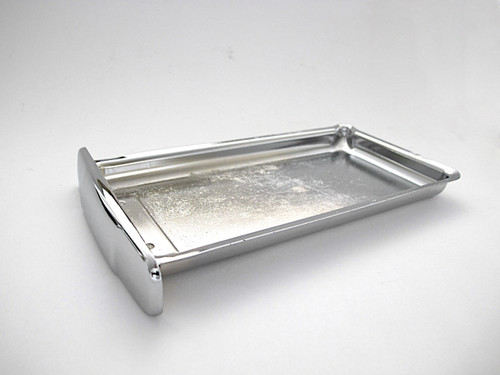 """NEW CHROME Center Griddle Grease Drip Tray. This is the thin indented pull style. Fits the vintage 1940's-1950's Wedgewood Gas Stoves. The metal integrity is excellent. MEASUREMENTS (does not incl. the handle pull) 8-3/4"""" x 4-7/8"""""""