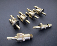 "6 Original Vintage Wedgewood, O'Keefe & Merritt Gas Burner Control Valves  -  Set Includes: 4 gas burner valves + 1 center griddle valve + 1 Broiler. Our valves are re-greased, the stems all turn smoothly and the threads are in good condition. MEASUREMENTS: 2 Orifice Holes - 3/4"" on center  /  Outside to Outside - 1-1/8""  THESE VALVES ARE USED - Please note, we recommend you have a certified professional or company with experience in this area inspect these parts prior to installation."