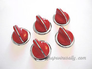 "5 Classic Vintage RED O'Keefe & Merritt Gas Stove Control Knobs with NEW CHROMED Bezel Rings. Please note, this set features the bezel rings that are smooth WITHOUT the ""On-Off"" lettering. These knobs fits the vintage 1940's-1950's O'Keefe & Merritt gas stoves. There are no cracks, chips in the plastic/bakelite, all rear ""D's"" are in very good shape. All knobs have a brilliant shine. These are all stunning - extremely rare.  THIS SET INCLUDES: 5 - O'Keefe & Merritt Vintage Red Stove Burner Control Knobs with New Chromed Bezels Rings  O'Keefe & Merritt vintage red & black 15"" & 12"" handles are also available, see 'O'Keefe & Merritt Stoves' category > 'Handles'"