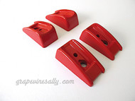 4 RED Vintage Wedgewood Stove Oven Door / Drawer Handle Bakelite Trim. Red gives any vintage stove that 'WOW FACTOR' - Each handle has 2 pieces. Each fits the left or right end of your chrome handle. These handle trim pieces are in excellent condition - ready to install. Installation is very easy. (mounting hardware not included)  The full handle pictured is not included in this sale, it is for demonstration purposes only.  Limited stock.