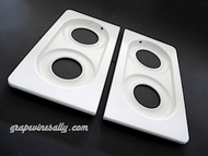 "PRE-ORDER NOW - COMING SOON! NEW PORCELAIN ENAMELED Original Vintage 1940's - 1950's Wedgewood Stove Tops. These fit the vintage 36"" wide Wedgewood stoves. This set has the outer round corners - they sit within the stove top frame that surrounds the entire stove top. (white porcelain enamel frame is available in store at this time)   MEASUREMENTS: Length 20-1/2"" / Width 11.0"" - Grate Insets: Length 16-7/8"" / Width 8-1/8"" / Round Burner Holes: rear 4.25"" front 4.75"""