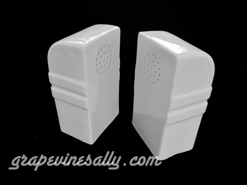 """White ceramic vintage Deco S&P set. Both are in excellent condition. New cork plugs (not pictured) will be included. This is a wonderful set! There are no cracks, chips or stains.    MEASUREMENTS: Height 4-1/8""""  /  Width 2-1/4""""  /  Depth (across front at holes) 2-3/8"""""""