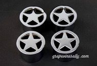 "Set of 4 Vintage NEW CHROMED O'Keefe & Merritt Star Burner Covers. These are original vintage O'Keefe & Merritt stove top star burner covers.  MEASUREMENTS: Top Diameter 2-1/4""  /  Bottom Diameter 1-7/8"""