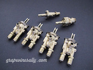 "Set of 6 Original Vintage O'Keefe & Merritt, Wedgewood Gas Burner Control Valves. Set Includes: 4 gas burner valves + 1 center griddle valve + 1 Broiler Oven Valve. Our valves are all re-greased, the stems turns smoothly and the threads are in good condition.  Please note: The orifice holes on this style burner valve are 3/4"" apart, outer edges are 1.0""  THESE VALVES ARE USED - Please note, we recommend you have a certified technician or company with experience in this area inspect these parts prior to installation."