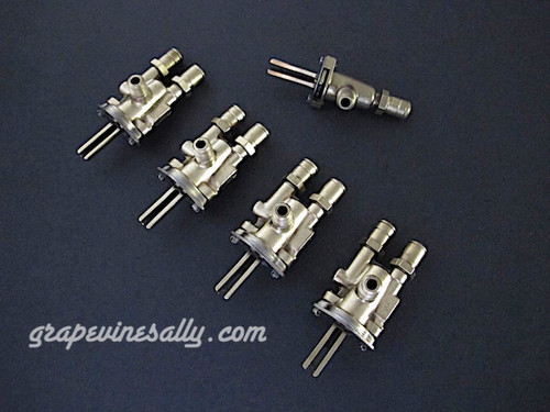 """Set of 5 Original Vintage O'Keefe & Merritt, Wedgewood Gas Burner Control Valves. Set Includes: 4 gas burner valves + 1 center griddle valve.. Our valves are all re-greased, the stems turns smoothly and the threads are in good condition.  Please note: The orifice holes on this style burner valve are 3/4"""" apart, outer edges are 1.0""""  THESE VALVES ARE USED - Please note, we recommend you have a certified technician or company with experience in this area inspect these parts prior to installation."""