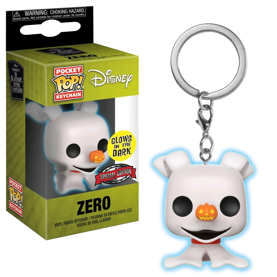 68442c9031f DISNEY Vinyl Figures  The Nightmare Before Christmas - Zero Glow Pocket Pop!  Keychain. Image 1