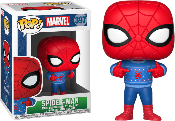 Marvel Christmas.Spider Man Marvel Holiday Pop In Ugly Christmas Sweater Vinyl Figure